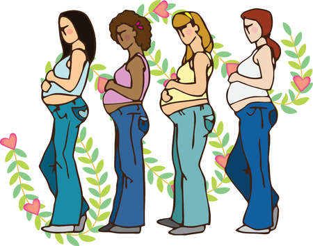 Side view of four pregnant woman holding their bellies, with leaves and hearts in the background