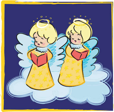 Two angels singing Christmas carols on clouds