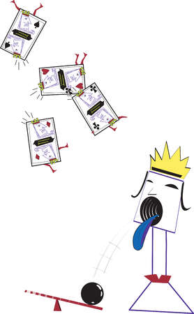 Illustration of a queen spitting out a bowling ball onto a see saw and four King cards flying in the air
