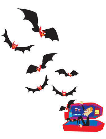 Illustration of bats flying out from a coffin with a vampire inside