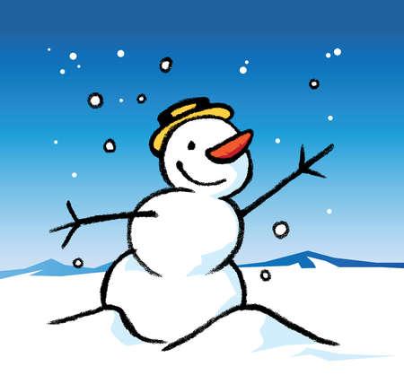 A snowman wearing a hat in a snowy landscape