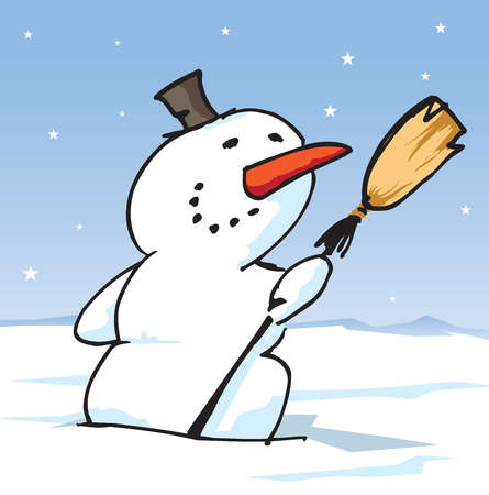 A snowman holding a broom and wearing a top hat