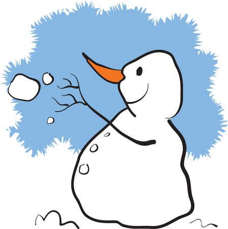 A snowman throwing a snowball