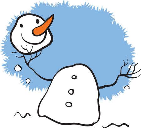 A snowman holding his head