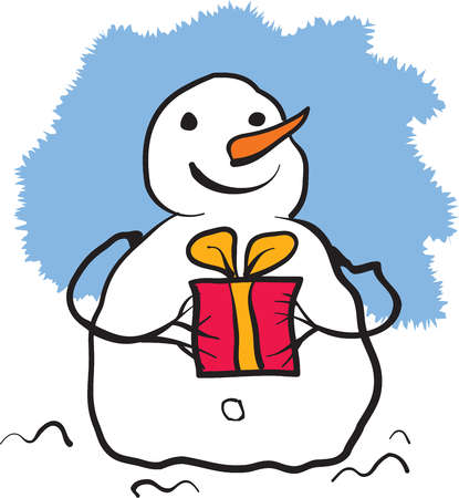 A snowman holding a gift