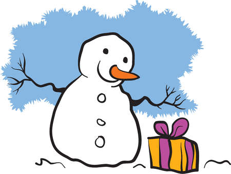 A snowman looking at a wrapped present box
