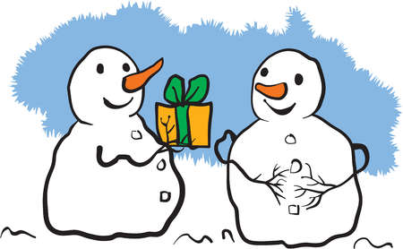 A snowman giving a present to another snowman
