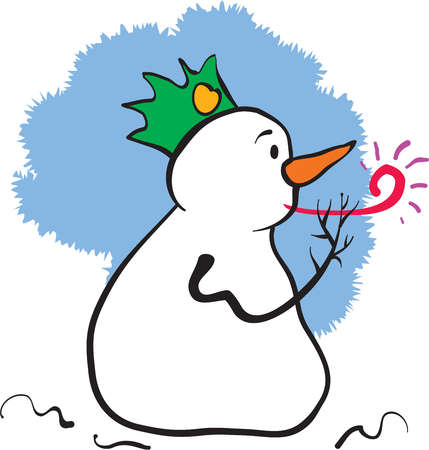 A snowman wearing a hat and blowing a noise maker