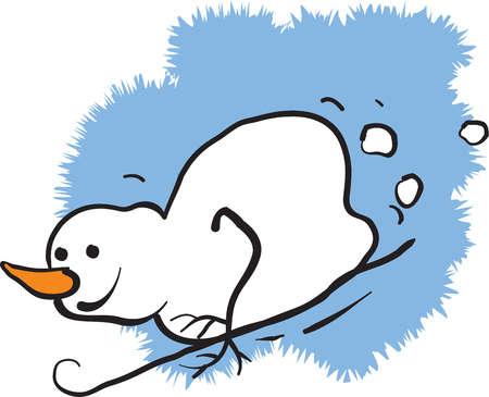 A snowman sledding down a hill