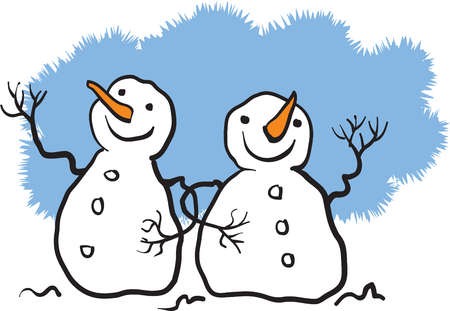 Two snowmen linking arms