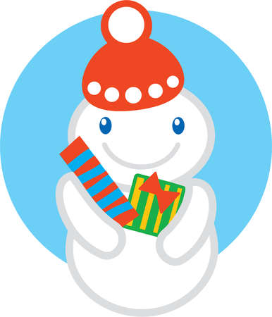 A smiling snowman wearing a winter hat and holding two Christmas gifts