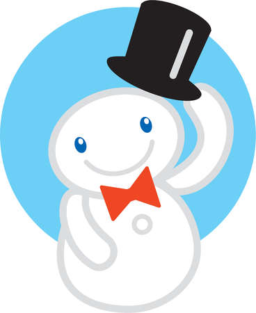 A snowman lifting his top hat in salutation