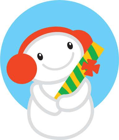 A snowman wearing ear muffs holding a Christmas gift