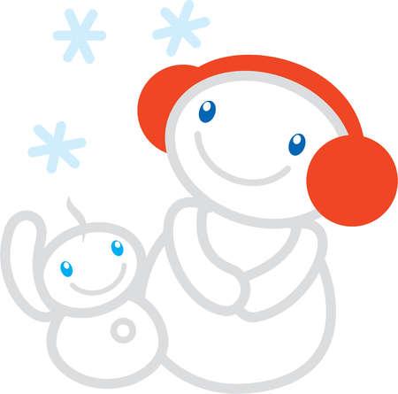 A snowman wearing ear muffs and a baby snowman enjoying the snow