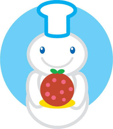 A snowman wearing a chefs hat holds a Christmas plum pudding