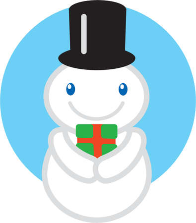 A snowman with a top hat holding a wrapped gift