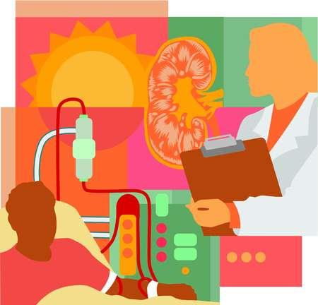 Collage of a kidney, a doctor, a sun, and a patient on dialysis