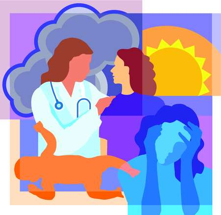 Collage of a sun, clouds, a doctor talking to patient, a newborn baby and a woman holding her head