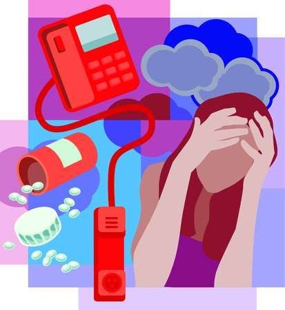 Collage of a bottle of spilled pills, a telephone with receiver off the hook and a woman holding head with clouds behind