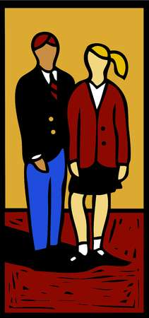 Illustration of a boy and a girl in school uniforms