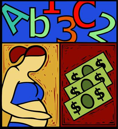 Montage of letters and numbers, money, and a pregnant woman