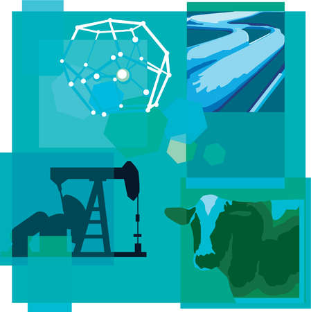 Montage illustration about methane reduction containing a cow, methane filled pipes and drilling equipment