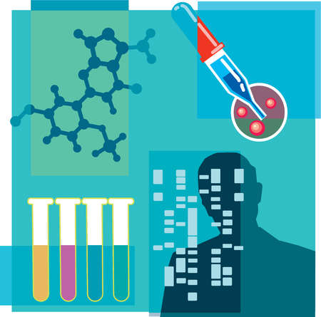 Montage illustration about DNA research containing gene therapy, test tubes, and a persons silhouette