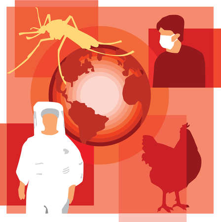 Montage illustration showing global diseases containing a mosquito, person in face mask, chicken, globe, and a person in hazardous materials suit