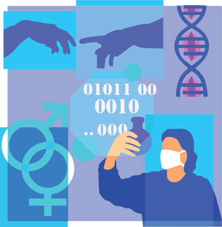 Montage illustration about genetic research containing DNA, chromosomes, genetic testing, male and female symbols and code