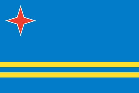 Flag of Aruba, a Dutch territory in the Caribbean sea.