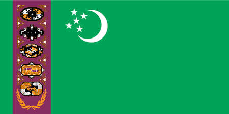 Historical flag of Turkmenistan, a country in central Asia, from 1997 to 2001.