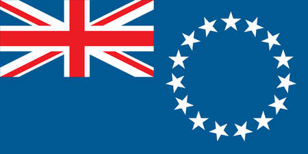 Flag of the Cook Islands, a territory of New Zealand in the South Pacific Ocean.