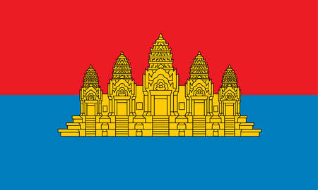 Historical flag of Cambodia, a country in Southeast Asia, from 1979 to 1992.