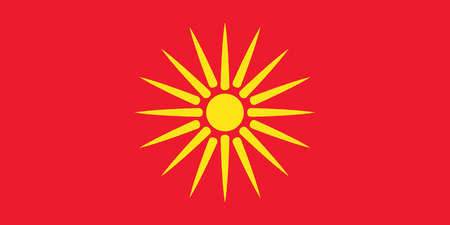 The Starburst Flag of Macedonia, a country in the southern Balkans, used from 1992 to 1995.