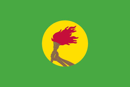 Historical flag of Zaire (the former Democratic Republic of the Congo), 1971 to 1997.