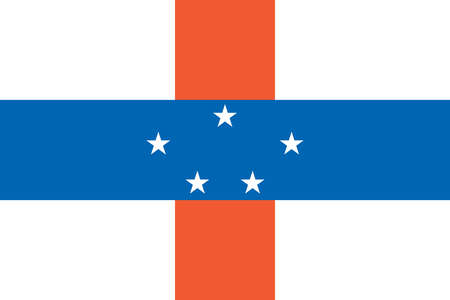 Flag of Netherlands Antilles, five islands in the Caribbean Sea, an autonomous part of the Kingdom of The Netherlands.