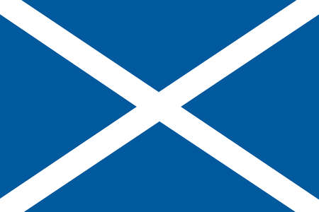 Flag of Scotland, the most northern part of the United Kingdom.