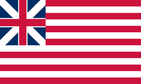 Historical flag of the United States of America. The Grand Union Flag, the first national flag of the United States, was first flown January 1, 1776.