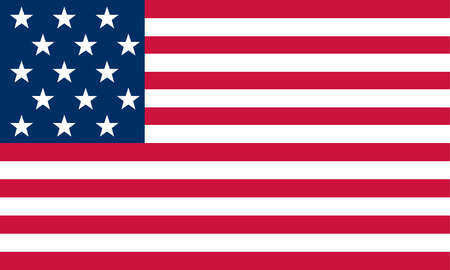Historical flag of the United States of America. Authorized May 1, 1795, this flag had 15 stars and 15 stripes for the 15 states of the union.