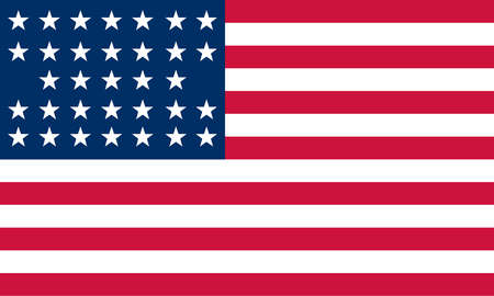 Historical flag of the United States of America. 1859 to 1861. At start of the Civil War the flag had 33 stars; flag was never changed to reflect states that had seceded.