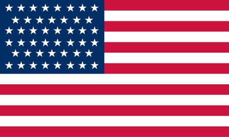 Historical flag of the United States of America. The 46-star American flag became official July 4, 1908, reflecting Oklahoma's admission in 1907, and was used until 1912.