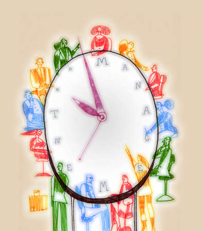 Business people sitting around clock with 'management' text