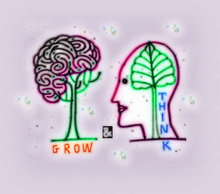 Brain and tree with 'grow' and 'think' text