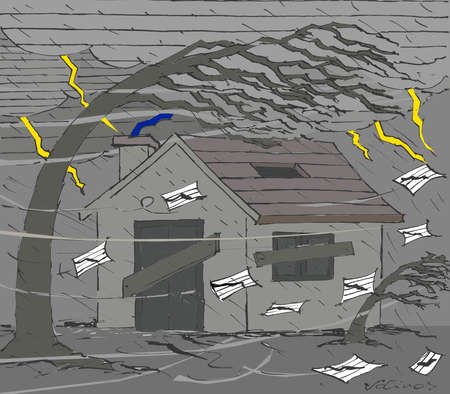 Wind storm blowing data charts around abandoned house