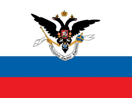 Historical flag of the United States of America. The Russian-American Company in Alaska was formed in 1799, and this flag was in use until 1861.