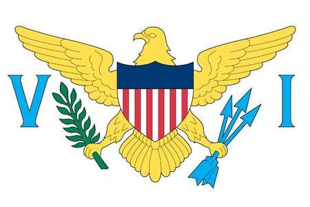 Flag of the U.S. Virgin Islands, an unincorporated island territory of the United States located in the Caribbean Sea.
