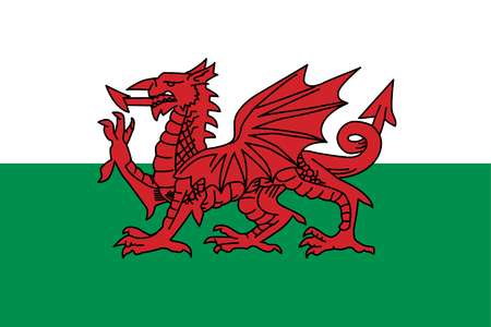 Flag of Wales, a constituent unit of the United Kingdom that forms a westward extension of the island of Great Britain.