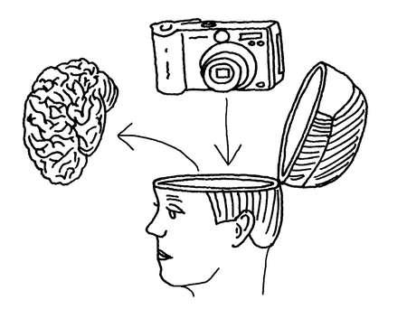 Digital camera replacing brain in woman's head