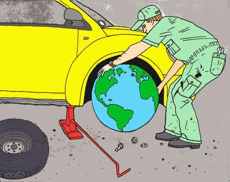 Mechanic putting globe tire on car