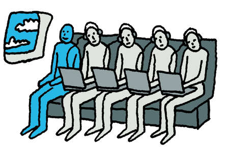 People with laptops on airplane next to smiling man without a laptop